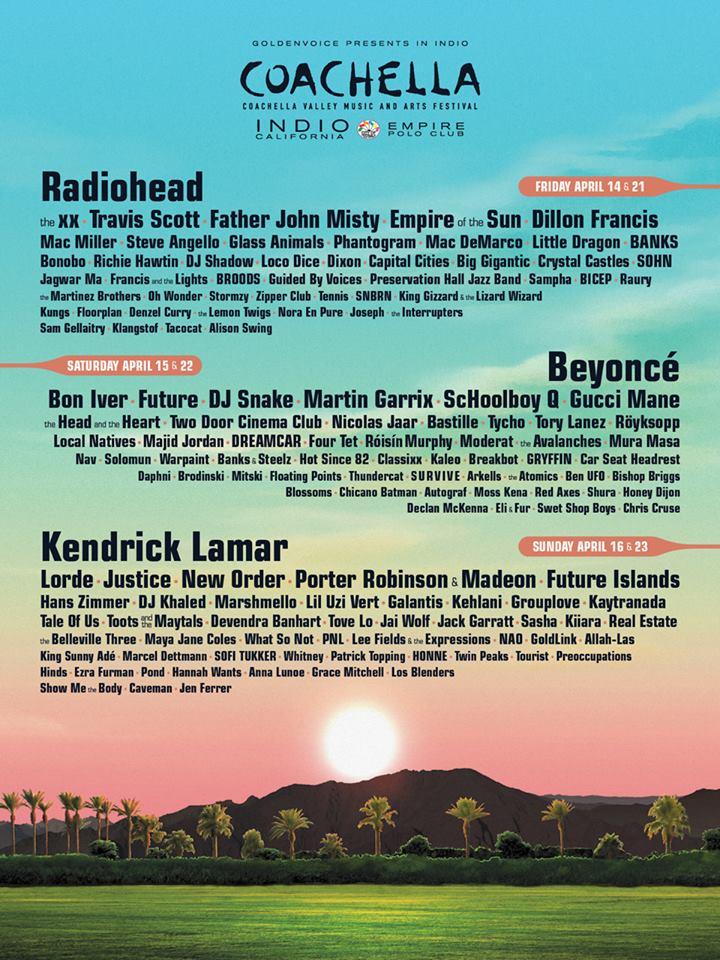 Radiohead, Beyoncé et Kendrick Lamar: le programme complet