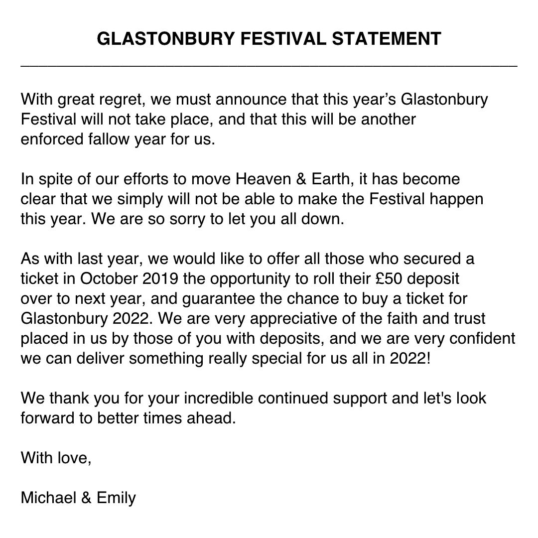 Culture: Le festival de Glastonbury annulé pour la deuxième année